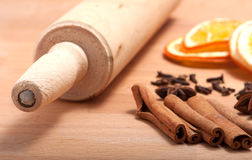 Cinnamon sticks, dried orange and anise Royalty Free Stock Photography