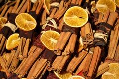 Cinnamon sticks. With dry orange Royalty Free Stock Images