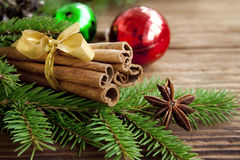 Cinnamon sticks on festive celebration background Royalty Free Stock Image