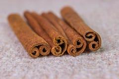 Cinnamon sticks. Four cinnamon sticks on sacking close-up Royalty Free Stock Image