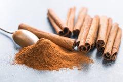 Cinnamon sticks and ground cinnamon. Stock Photos
