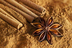 Cinnamon sticks, ground cinnamon and  star anise Royalty Free Stock Photos