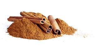 Cinnamon sticks, ground cinnamon Royalty Free Stock Image