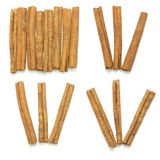 Cinnamon sticks group spice isolated set Royalty Free Stock Images