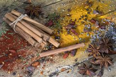 Cinnamon sticks - Herbs and Spices Royalty Free Stock Photography