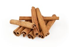 Cinnamon sticks isolated on white. Background with clipping path stock photos