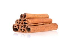 Cinnamon sticks isolated on white background Stock Images