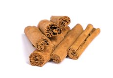 Cinnamon sticks isolated on a white background. Canella spices. Stock image. stock photos