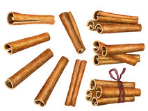 Cinnamon sticks isolated on white background, top view Royalty Free Stock Images