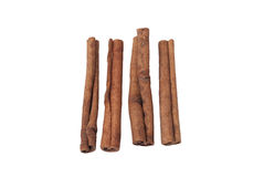 Cinnamon sticks isolated. Whole cinnamon sticks isolated on white background Royalty Free Stock Images