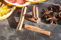Cinnamon sticks. Light brown cinnamon sticks, on a stone plate Royalty Free Stock Photography