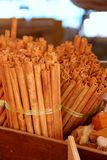 Cinnamon sticks on the market place in box Royalty Free Stock Photos