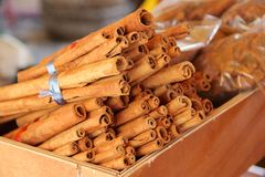 Cinnamon sticks on Marketplace for sale Stock Photo