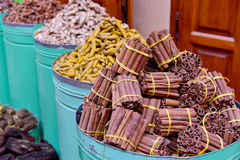 Cinnamon sticks in Marrakesh market, Morocco Royalty Free Stock Photo