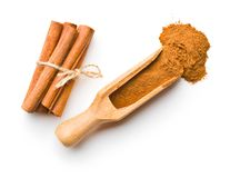 Cinnamon sticks and milled cinnamon. Royalty Free Stock Images