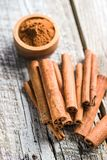 Cinnamon sticks and milled cinnamon spice. Royalty Free Stock Photography