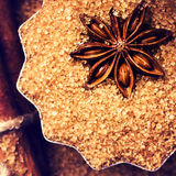 Cinnamon sticks, nuts and star anise on brown sugar, macro. Baki Royalty Free Stock Photos