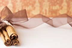 Cinnamon sticks with organza ribbon and burlap Stock Photography