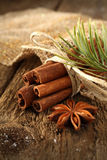 Cinnamon sticks and pine needles Stock Photo