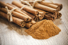 Cinnamon sticks and powder Stock Image