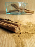 Cinnamon Sticks and Powder Stock Photo