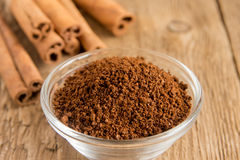 Cinnamon sticks and powder Stock Images