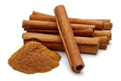 Cinnamon sticks and powder stock photos