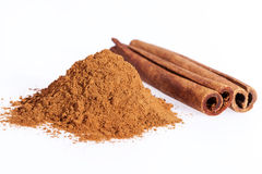 Cinnamon sticks and powder isolated on white background, close up Stock Photo