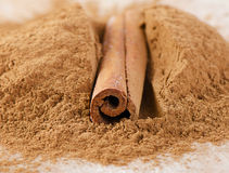 Cinnamon sticks and powder Royalty Free Stock Photography