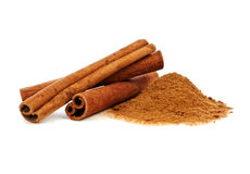 Cinnamon. Sticks and powder on white background Stock Image
