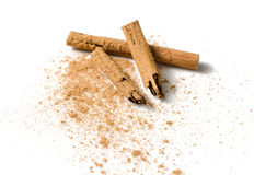 Cinnamon sticks and powder on white Royalty Free Stock Photography
