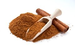 Cinnamon sticks and powder Stock Photos