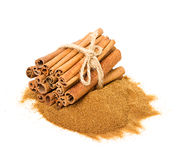 Cinnamon sticks and powdered cinnamon Royalty Free Stock Photo