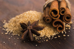 Cinnamon sticks with pure cane brown sugar Royalty Free Stock Images