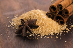 Cinnamon sticks with pure cane brown sugar Royalty Free Stock Image