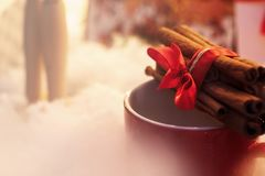 Cinnamon sticks with ribbon on red cup. winter cozy moment. spac Stock Photo