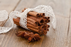 Cinnamon sticks rolled in a bundle Royalty Free Stock Photo