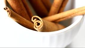 Cinnamon sticks rotating stock video