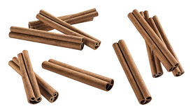Cinnamon sticks set 2 isolated on white background. For flavor package design element Royalty Free Stock Photos
