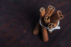 Cinnamon sticks, shot close-up on the table. Stock Photography