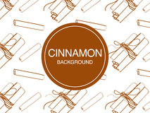 Cinnamon sticks sketch on white background rectangular composition Stock Images