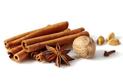 Cinnamon sticks and spices Royalty Free Stock Photos