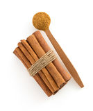 Cinnamon sticks and spoon Royalty Free Stock Images