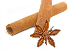 Cinnamon sticks with star anise Royalty Free Stock Photography