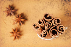 Cinnamon sticks and star anise Royalty Free Stock Photography
