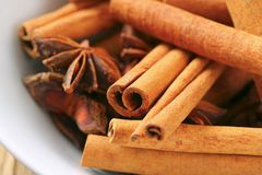 Cinnamon sticks and star anise Stock Photo
