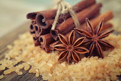 Cinnamon sticks and star anise Royalty Free Stock Images