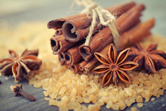 Cinnamon sticks and star anise Royalty Free Stock Photos