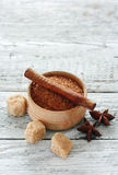 Cinnamon sticks , star anise and brown sugar Royalty Free Stock Photography