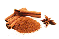 Cinnamon sticks with star anise isolated Royalty Free Stock Image